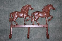 "1)pc, COUNTRY WESTERN HORSE COAT AND HAT HOOK, 13"", CAST IRON, RUSTIC, W-55 #COUNTRYWESTERN"