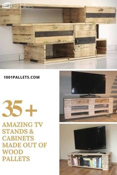 35 amazing tv stands & cabinets made out of wood pallets · ― pallet tv stand Wood Pallet Furniture, Wood Pallets, 1001 Pallets, Pallet Tv, Pallet House, Furniture Projects, Recycled Pallets, Recycled Furniture, Furniture Design