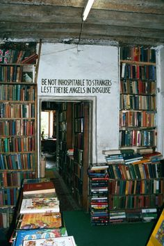 'Be not inhospitable to strangers lest they be angels in disguise.' The Shakespeare and Company in Paris used to be a monastery in 1600s and housed popular writers like Ezra Pound, Scott Fitzgerald, Ernest Hemingway, Ford Madox Ford, and James Joyce since it was established in 1951. The bookshop used to be called The Mistral, but owner George Whitman renamed it Shakespeare and Company in 1964. (via Jennifer Liston)