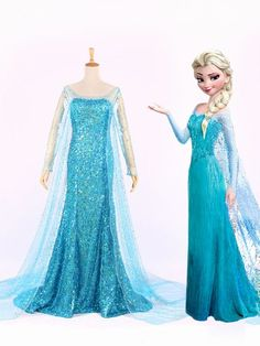 Hot Blue Sequins Frozen Elsa Princess Prom Dress