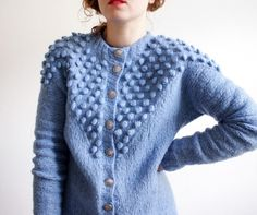 Blue bubble cardigan sweater