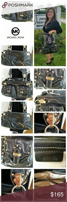 """🎀HP MICHAEL KORS chunky hardware satchel purse HP Fall Fashion  Thanks @jcradd  Fabulous high quality purse by Michael Kors High quality leather with gold hardware  Foldover flap outside pockets Internal compartments with zipper 16"""" x 8"""" x 5"""" Gently loved...a few marks Internal canvas lining...some marks Michael Kors Bags Satchels"""