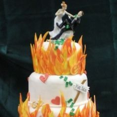 Divorce Cake {yep the flames} Divorce Party, Divorce Cakes, Reds Bbq, The Good German, Bbq Apron, Grilling Gifts, Tasty, Yummy Food, Summer Barbecue
