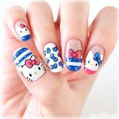 30 Hello Kitty Nails @GirlterestMag #nailart #nailpolish #naildesigns #hello #kitty #nails