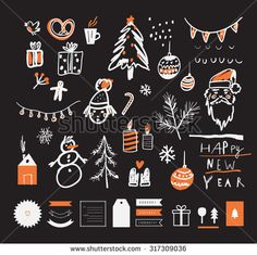 Hand drawn sketch. Merry Christmas and Happy New Year set. Decorative elements. Vector illustration. Isolated. RGB. Gradients free. Each elements are grouped separately