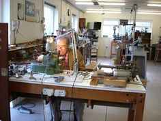 George Daniels at his own bench in his Isle of Man workshop