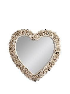 HOME COLLECTION Heart Shaped Mirror With Rose Detail | very.co.uk