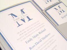 Modern Monogrammed Pocket Fold Wedding Invitation with Rhinestone.