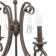 Hampton Bay 4 Light Oil Rubbed Bronze Crystal Small Chandelier