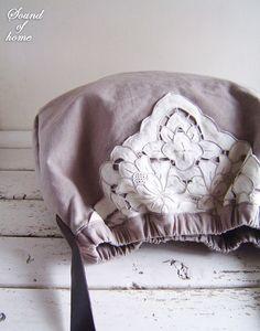 Linen lace beige leather bag handmade zakka by SoundOfHome on Etsy, $52.80