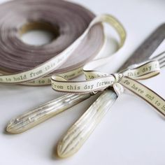 """Wedding gift of vintage silver tied with customized ribbon, """"from this day forward"""""""