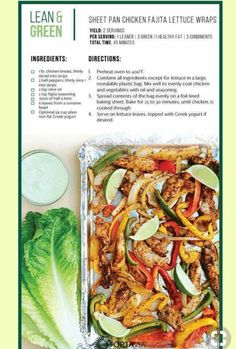 Sheet Pan Fajita Chicken Wraps Take Shape For Life Lean And Green Meals Lean Recipes Medifast Recipes Healthy Living Recipes Skinny Recipes Low Carb Recipes Chicken Reci. Medifast Recipes, Low Carb Recipes, Diet Recipes, Cooking Recipes, Healthy Recipes, Lean Recipes, Chicken Recipes, Skinny Recipes, Ideas