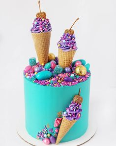 Does anything say spring more than ice cream cones? Ok, ok, maybe flowers and baby chicks but come on, this is pretty cute🤩 The client… Candy Theme Cake, Candy Birthday Cakes, Ice Cream Birthday Cake, Candy Cakes, Cupcake Cakes, Party Candy, Ice Cream Cone Cake, Ice Cream Theme, Ice Cream Cupcakes