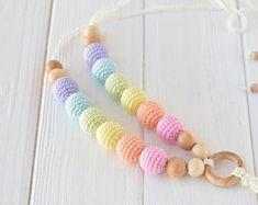Pastel rainbow verpleegkunde ketting met hanger voor baby tandjes, gehaakte tandjes halsketting voor borstvoeding & draagdoek