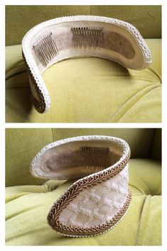 Renaissance Headpiece Hat Rococo Baroque Tudor Medieval Fascinator Ivory Gold…