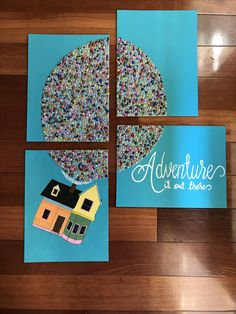 Adventure is out there 'up' house acrylic painting and faux pearl cabochons for balloons. x canvas. Disney Balloons, Rainbow Balloons, Rainbow Wall, Canvas Ideas, Diy Canvas, Pistachio Shell, Fun Crafts, Diy And Crafts, Balloon Painting