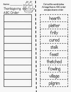 Classroom Freebies Too: Thanksgiving ABC Order: Magic Tree House Thanksgiving on Thursday