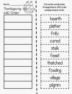 Classroom Freebies Too: Thanksgiving ABC Order: Magic Tree House Thanksgiving on Thursday