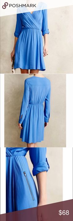 "Anthropologie MAEVE Lene Blue Faux-Wrap  Dress Gorgeous sky blue crepe dress by Maeve from Anthropologie with Faux-Wrap,  Surplice shoulder-Tab detail and zipper pockets.  - In excellent condition  * Length: 36"" from shoulder * Bust: 16"" flat across Anthropologie Dresses Long Sleeve"