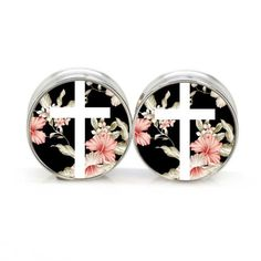 Amazon.com: Stainless Steel Double Flared Black Floral Cross Ear Gauges Plugs 7/16 Inch 11mm: Jewelry