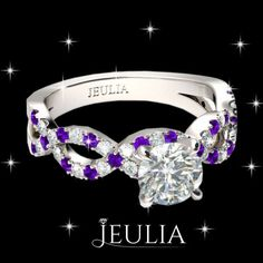White Sapphire with Amethyst Sidestone Rhodium Plating Sterling Silver Engagement Ring  #jeulia #engagementrings #fashionjewelry