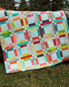 "This is one of my most popular patterns. I have remade it many times, so you have a lot of different color ways to look at, which is always nice. Fabric selection is quick and easy because you just need one jelly roll and one additional neutral fabric! PDF available in a separate listing. Measurements: 61 x 72. Large lap quilt or twin coverlet. You can make this pattern larger by making more finished squares. This quilt would also be a perfect scrap quilt, you just need a bunch of 2.5""…"