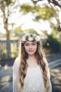 flower crown and beach waves