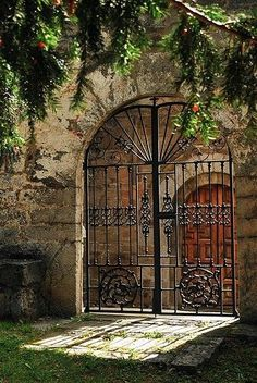 Wrought iton gate in old stone wall. Hacienda in Asturias, Spain Door Gate, Fence Gate, Fences, Cool Doors, Unique Doors, Entry Gates, Entrance, Portal, Wrought Iron Gates