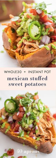 These Whole30 Instant Pot Mexican stuffed sweet potatoes with chicken are the perfect Whole30 dinner: insanely full of flavor, filling, and full of protein, fiber, and healthy fats. Your new go-to Whole30 Mexican recipe! A great anytime paleo Mexican dinner, too.