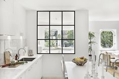 Interior window for mud room, but would be smaller. Either smaller panes or two by two Interior Desing, Beautiful Interior Design, Interior Architecture, Practical Magic House, Wall Clock Wooden, Interior Windows, Tiny Apartments, Compact Living, Window Design
