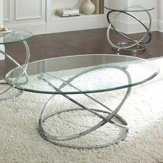 Steve Silver Orion 3 Piece Glass Top Coffee Table Set w/ Chrome Base…
