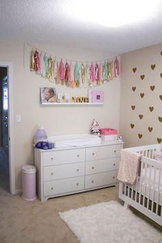 Gold, mint, pink nursery
