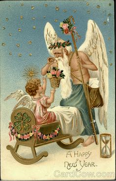 Fantasy Father Time New Year Baby Cradle Shepherd's Crook Pink Roses Emboss 1907 Vintage Happy New Year, Happy New Years Eve, Happy New Year Cards, New Year Greetings, Vintage Year, Victorian Christmas, Vintage Christmas Cards, Vintage Holiday, Christmas Art