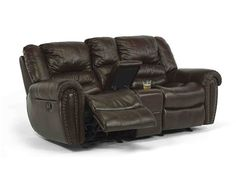 Shop for Flexsteel Crosstown Dual Reclining/Gliding Loveseat with Console, FL121060442370, and other Living Room Loveseats at Woodstock Furniture in Acworth and Hiram Georgia. The Crosstown Dual Reclining/Gliding Loveseat with console features traditional styling with the nail head trim on the arms and attached back seat cushion.