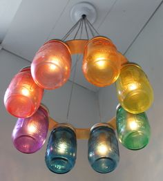 Colorful mason jar DIY light fixture.  This is such a WOW fixture to have in ones house.