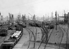 Framed Print-London Scenes - London Docks - Deadman& Dock - Deptford Wharf-Framed Print made in the USA Blood Photos, Isle Of Dogs, Southern Railways, London History, British Rail, Old London, East London, River Thames, London Photos