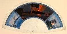 Watercolor on vellum illustrating a fan, double view of Vesuvius in eruption and Tomb of Virgil - anonymous author 1779 - Harris Brisbane Dick Fund, 1938 / Metropolitan Museum of Art NY