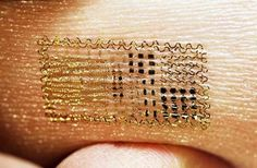Electronic tattoo to measure body temp, skin hydration, and electric signals from muscle and brain and activity. From U of I Champaign-Urbanna.