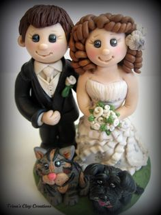Bride and Groom Wedding Cake Topper ~ By Trina's Clay Creations ~ polymer clay