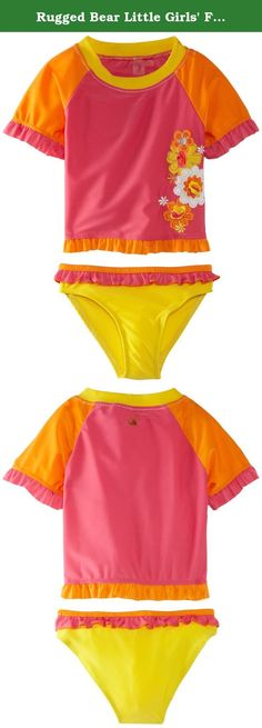 Rugged Bear Little Girls' Flower Vacation Swim Set, Rosy, 5/6. Two piece contrast color rash guard set with appliqued flower detail.