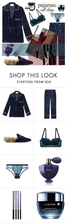 """""""PJs All Day: Lovely Loungewear"""" by nicolevalents ❤ liked on Polyvore featuring Gucci, Blush, Guerlain, Lancôme, Givenchy and LovelyLoungewear"""