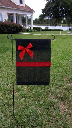Thin Red Line Burlap Garden Flag. Thin Red Line, Firefighter wife, Firefighter wedding, Fireman gifts