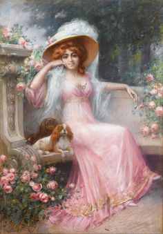 Elegant Lady With Her Cavalier King Charles Spaniels