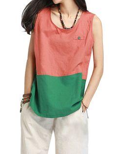 Casual Women Contrast Color Patchwork Cotton Linen Tank Top