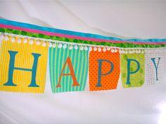 Birthday Banner Whimsical Festive Happy Birthday by BooBahBlue