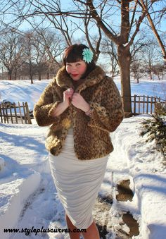 Added a leopard print jacket to this @kiyonnaplussize #plussize White Ruched Dress. My honey will swoon on #ValentinesDay! #ootd #plussize #winter #heelsinthesnow