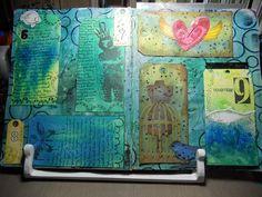 "Kat Layton art journal page - Balzer Designs ""Julie's Perfect Circles"" stamp set and ""Julie's Large Paint Splat"" stamp."