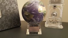 """Spinning Globe/Crystal Base - """"God Created The Heavens & Earth"""" Satellite Earth View Globe (With four Scriptures)"""