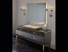 "Hilton luxury Italian bathroom vanity shown in 70.9"" black lacquered glass base and top and gold accents. Washbasin shown in 31.9"" Zurigo 81 mineralmarmo.   Hilton manufacturing details are set to perfection utilizing the finest glass and materials. Base/Top finish options: 27 glossy glasses, silver or gold alligator glass, fume/grey or bronze mirror and ebony veneer. Wash basin options: sit-on, above counter and semi-recessed. Internal finish options: wenge or ..."