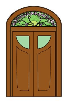 Rendering with Windows Paint that I did of the Maple Drawing-Room's double-door entrance beneath the Galle cameo-glass transom/fan-light. **PLEASE** Do not take as your own! Credit accordingly. Thank-you!!